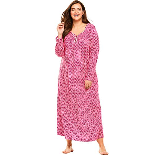 Only Necessities Women's Plus Size Long Pintucked Sleep Gown - Pink Burst Leaf, 14/16 (Nightgown Pintucked)