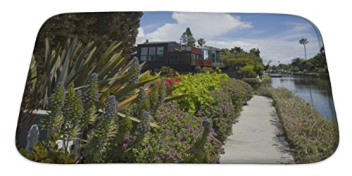 Gear New Bath Rug Mat No Slip Skid Microfiber Soft Plush Absorbent Memory Foam, Houses And Tropical Vegetation On Venice Canals Los Angeles California, 34x21 Canal Tropical Rug