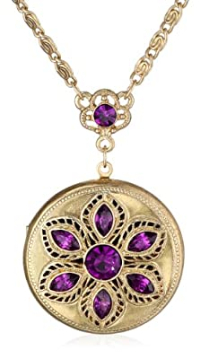 "Signature 1928 ""Signature Collection"" Crystal Round Locket Necklace, 30"""
