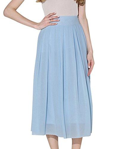 DianShao Jupe Femme Casual Style Femme Jupe Taille Haute Longue Jupe Plisse Boheme Rtro Bleu Ciel