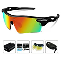 COSVER Polarized Sport Sunglasses for Mens Women Cycling Running Fishing with 5 Interchangeable Lenses Glasses