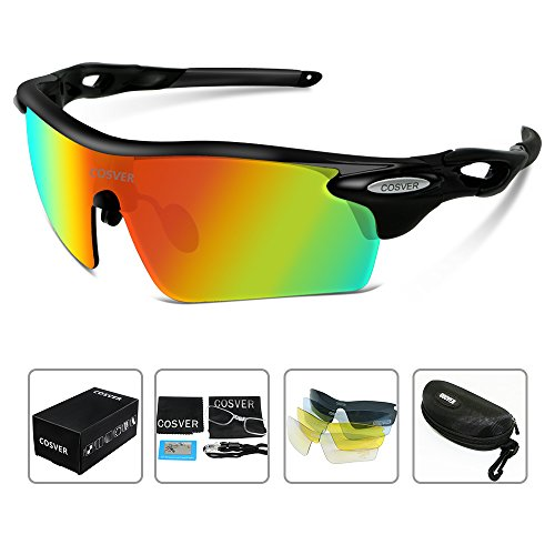 COSVER Fashion Polarized Sports Sunglasses with 5 Lenses for Men Women Driving Cycling Running Tactical Glasses (Black&Black, - Sunglasses Impact Resistant