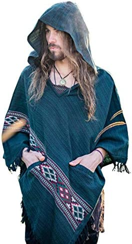 メンズフード付きポンチョグリーンカシミヤヤクウールポケット部族の刺繍ケルトジプシーオルタナティブ・フェスティバルメキシコプリミティブ大型フードAJJAYA