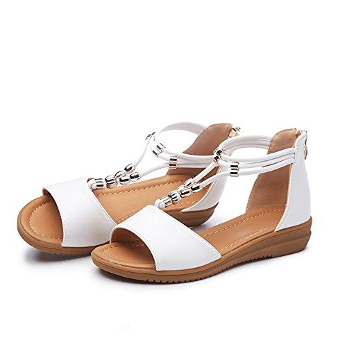 Blanco UK3 con Hadas CAICOLOR Planas Tamaño Zapatos de 5 Bohemio Slipper Verano Sandalias EU36 CN36 Color Coreano Negro de Sandalias Hqa4WRxSw