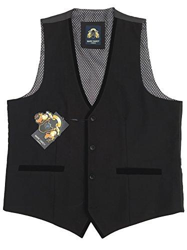 UOMO MARC Darcy Vintage Tweed GILET CON VELLUTO BORDO - Dan RONNY Nero