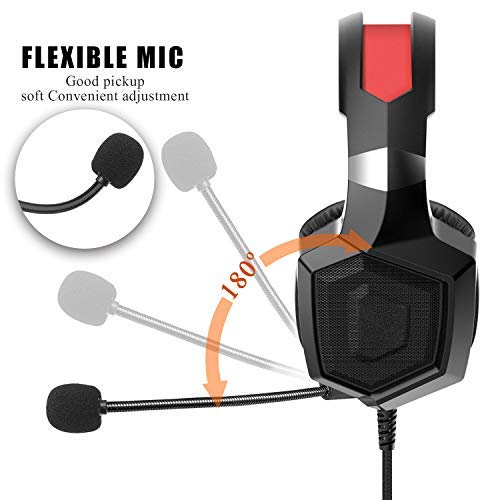 Amerzam Gaming Headset with Stereo Surround Sound, LED Lighting & Noise Canceling Microphone for PS4, Xbox One (Adapter Needed), Nintendo Switch (Audio) etc. (Black)