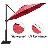 #10: Abba Patio Offset Cantilever Umbrella 11-Feet Outdoor Patio Hanging Umbrella with Cross Base, Dark Red
