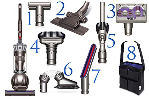 Dyson Ball (Formerly DC65) Animal + Allergy Complete Upright Vacuum with 7 Tools – HEPA Filtered – Corded (Silver 7 Tools + Accessory Bag)