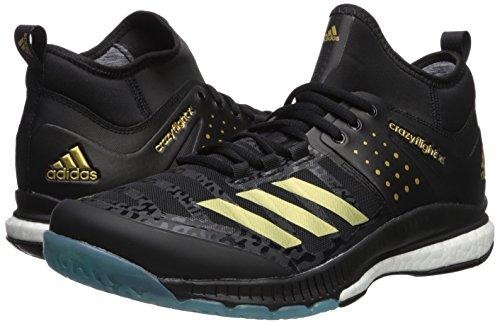 adidas Men's Crazyflight X Mid Volleyball Shoes, White/Metallic  Silver/Black, (10 M US)