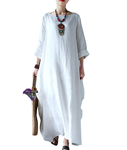 Linen Long Dress - Yesno JD1 Women Long Dress Arab Kaftan 100% Linen Casual Loose Fit Baggy Skirt /Pocket,White,Large