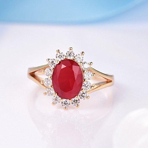 Meenanoom Promise Women Signet Red Garnet Crystal Yellow Gold Filled Bridal Wedding Rings - Uk Signet
