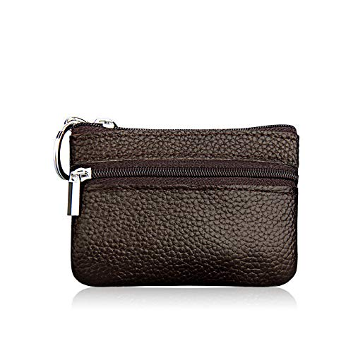 Men Women Kids Card Coin Key Holder Zip Genuine Leather Wallet Pouch Bag Purse (Color - Coffee)