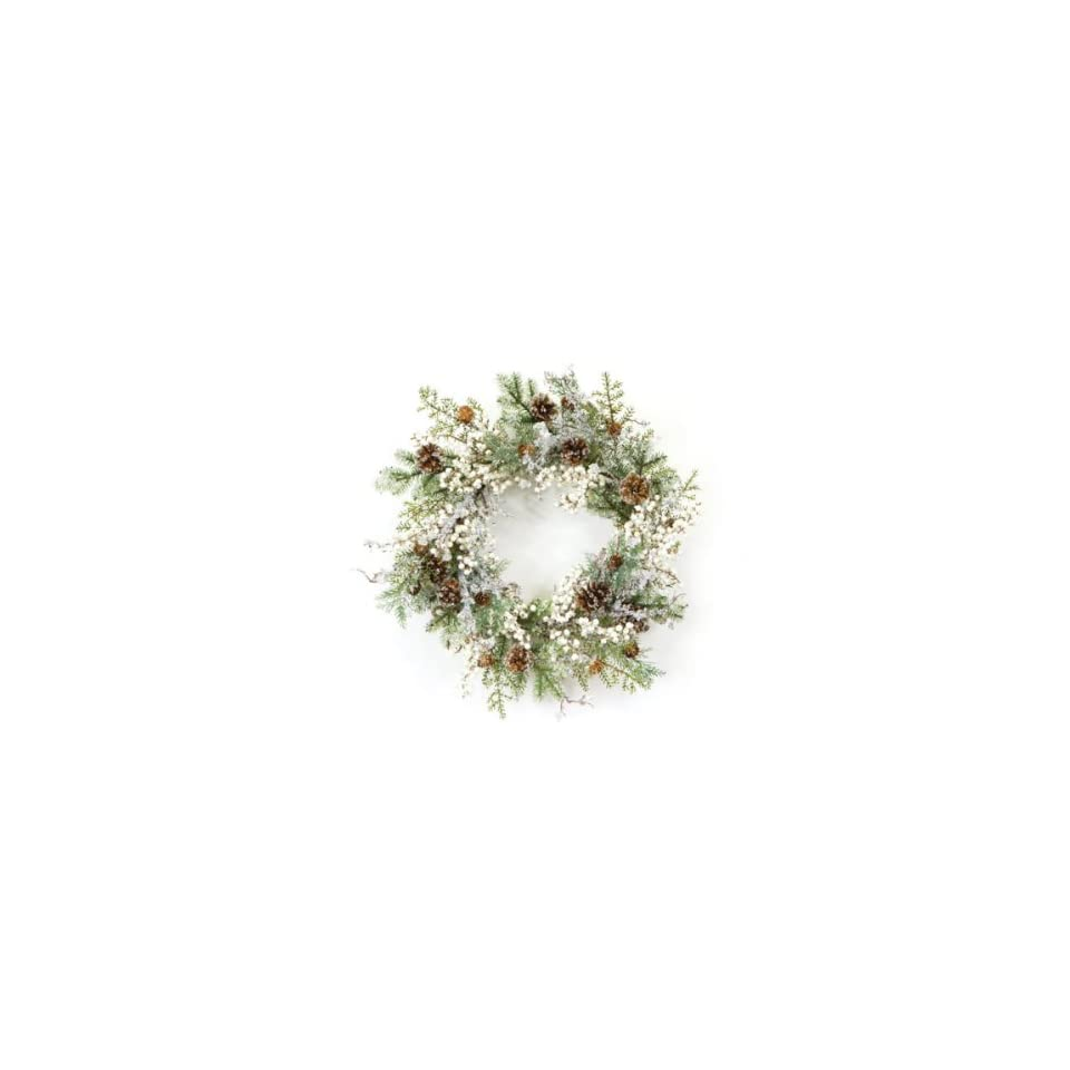2 Winter Solace Iced Pine & White Berry Artificial Christmas Wreaths 20   Unlit