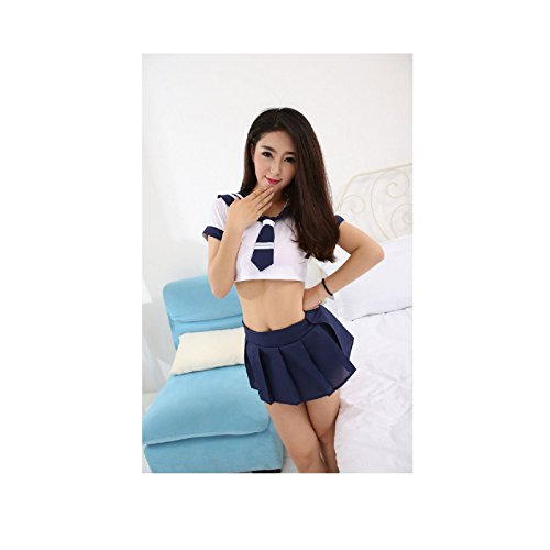 NEW! Japanese School Girl Students Sailor Lingerie Uniform Cosplay Sexy Anime Costume (Freesize, White & Blue (Cheers And Beers Costume)