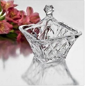DIAMOND CUT SQUARE CRYSTAL CANDY BOX WITH TOP Studio Silversmiths COMINHKPR23888