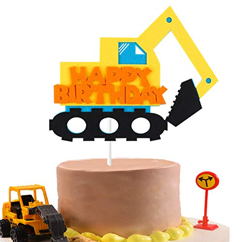 BeYumi Construction Truck Birthday Cake Topper for Kids, Excavator Party Cake Decoration Supplies