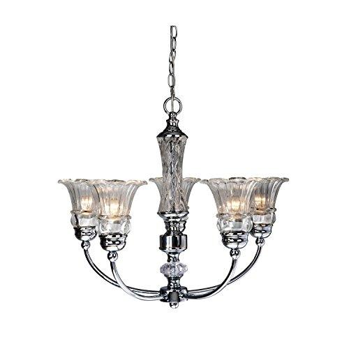 Petals 5 Light Chandelier - Elegant Designs CH1000-CHR 5 Light Glass Ceiling Glacier Petal Chandelier, Chrome