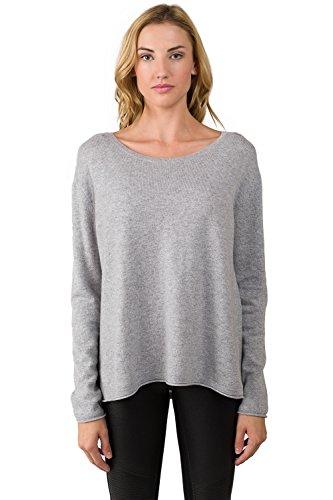 JENNIE LIU Women's 100% Cashmere Long Sleeve Boatneck High Low Dolman Sweater(S, Grey)