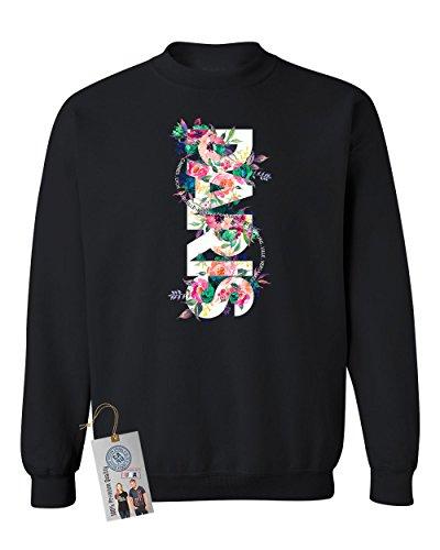 Paris Floral Colorful Flowers Summer Crewneck Sweatshirt Black M