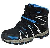 Boys Girls Kids Junior 894303 Triple Touch Close Straps Thermal Fleece Willow Tex Outdoor Wellington Rain Winter Snow Boots Size 12.5-6 (UK 5/ EU 38, Black/Blue)