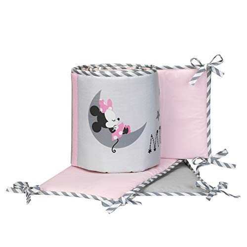 Lambs & Ivy Disney Baby Minnie Mouse 4 Piece Crib Bumper, Pink/Gray ()