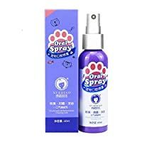 Glumes Dog Breath Freshener Pet Oral Care Spray Dental Spray Teeth Cleaner Smell Removal Cat Mouthwash No Toothbrush Remove Odor Dental Care Water Additive for Bad Pet Breath for Dog Cat Puppy (1pcs)