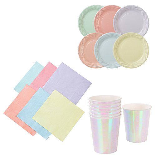 Talking Tables We Heart Pastel Party Bundle for Birthday Parties, Baby Showers, Picnics, Summer, Garden Tea Parties & More | Paper Plates, Napkins & - Talking Pastel