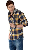 Mechnic Brush Cotton Hooded Check Shirt Regular fit for Men- Multicolored