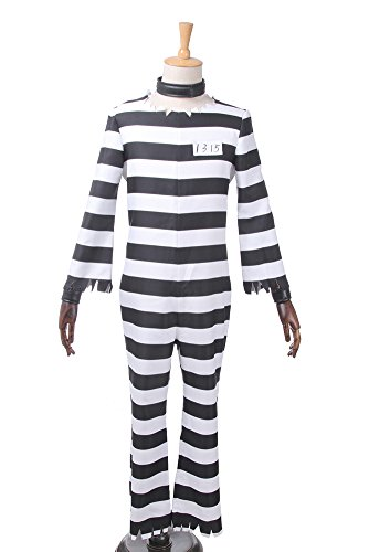[ROLECOS Mens No.15 Prison Cosplay Costume Striped Jumpsuit Full Sets XXL] (Prison Halloween Costumes)