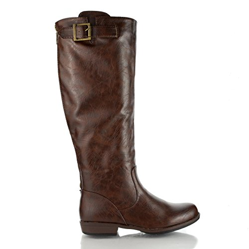 Bamboo Womens Montage-01N Round Toe Knee High Buckle Riding Full Back Zipper Boots,Brown Crppu,6 ()
