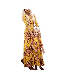 docotor akio Mom and Me Matching Long Sleeve Floral Print Maxi Dress with Pockets