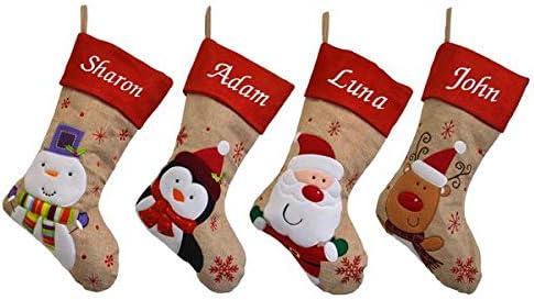 PENGUIN SANTA REINDEER SNOWMAN PERSONALISED EMBROIDERED CHRISTMAS STOCKING