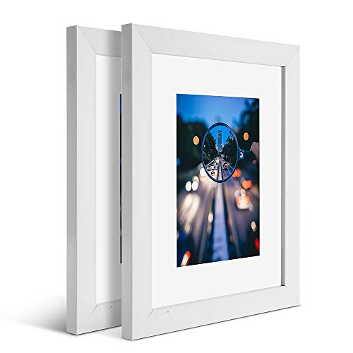 iDecorlife Premium 8x10 White Picture Frames 2PCs - 5x7 Picture Frame with Mat or 8x10 Picture Frame Without Mat - Real Wood Photo Frame for Table Top Display wtih Wall Mounting Ready