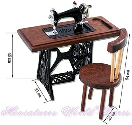 Amazon.es: Miniatures World - Máquina de Coser en Madera y Metal y ...