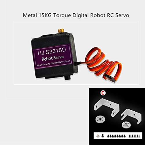 Solovley Toy Accessories, HJ S3315D 15KG Metal Gear Digital Servo Double-Axis Robot Steering Gear 180 Degree Long U-Shaped Bracket for RC Modle