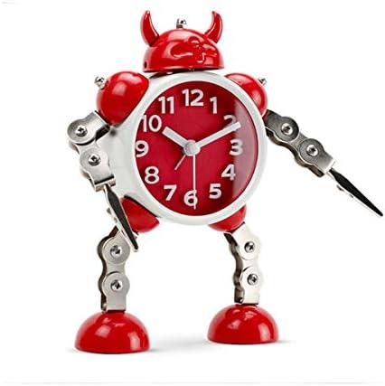 KEHUITONG 目覚まし時計、漫画人格怠惰な機械電子かわいいリビングルームクリエイティブ金属学生ミュート小さな目覚まし時計、電池式 最新スタイル (Color : Yellow)