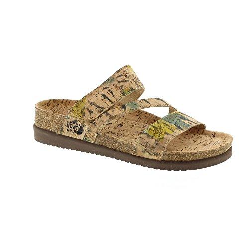 MEPHISTO scarpe CIABATTA BAMBOU CORK FLOWER CAMEL PE17