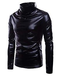 Zantt Men Long Sleeve Casual Turtleneck Metallic Club Tee Top T-Shirts