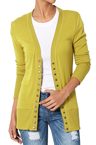 TheMogan Women's Snap Button V-Neck Long Sleeve Knit Cardigan Wasabi - Wasabi 4