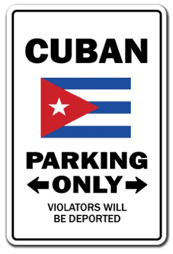 SignMission Cuban Parking Sign | Indoor/Outdoor | Funny Home Décor for Garages, Living Rooms, Bedroom, Offices Gag Novelty Gift Funny Havana Cuba Cigars Rum Island Sign Wall Plaque Decoration