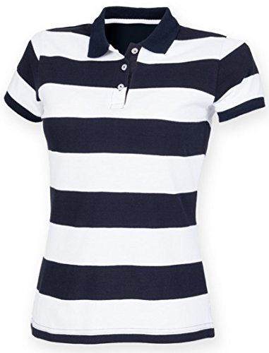 Front Row Women's Short Sleeve Striped Pique Polo Shirt Navy/White XL