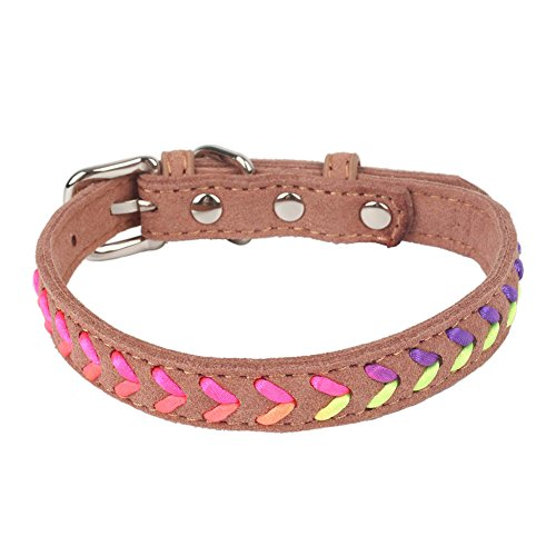 Traumdeutung Dog Collar Accessories Product for Pets Supplies Unique Gradient Rainbow Color Rope Plaited Microfiber Soft (L, brown)