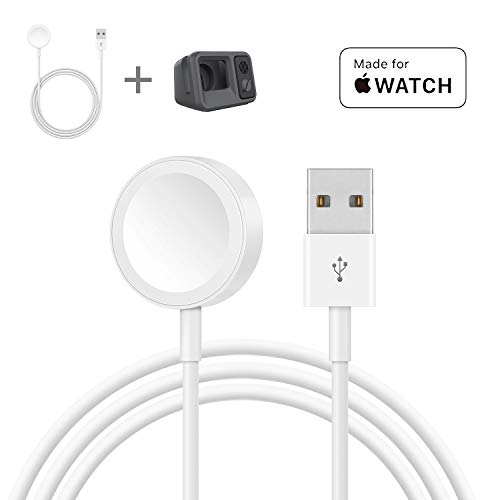 Charger for Apple Watch, [ 2 in 1] Silicone Stand Scratch-Free with Lightweight Magnetic Charging Cable for Apple Watch All Series 4 3 2 1 All 38mm 40mm 42mm 44mm (1m/3.2ft, Cable/Stand Included)