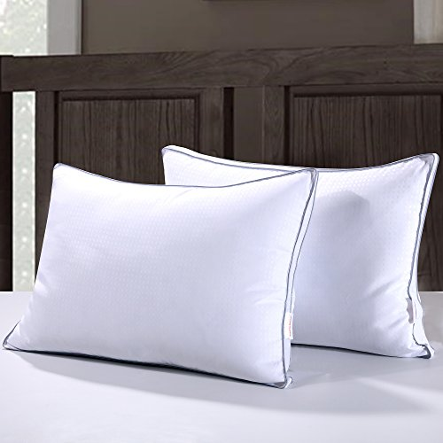 Homelike Moment Down Feather Pillow for Sleeping Queen Bed Pillows Standard Queen Size Pillow Set of 2 Gusseted Standard Queen Bed