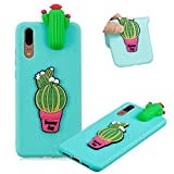3D Touch Cute Lovely Fruit Cover for Huawei P20 Pro, MOIKY Gift for Girls Boys Silicone Gel Rubber Slim Fit Soft TPU Bumper Mobile Phone Case for Huawei P20 Pro Shock Absorption Anti Scratch - Cactus