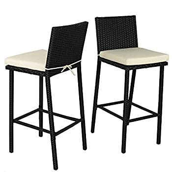 Leaptime Patio Furniture Bar Stools and Table Garden Dining Set Outdoor Wicker Chairs Beige Cushion