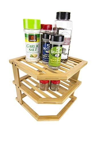 Home Basics 3-Tier Corner Storage Spice Rack Shelf, Natural (Nick Kitchen)
