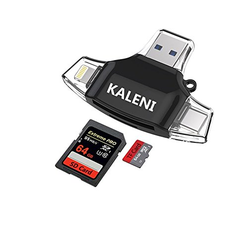 KALENI SD Card Reader,Memory Micro SD Card Reader USB Type C Adapter Viewer for iPhone iPad Android Mac – Supports Lightning Micro USB Type C 4 in 1 (Black)