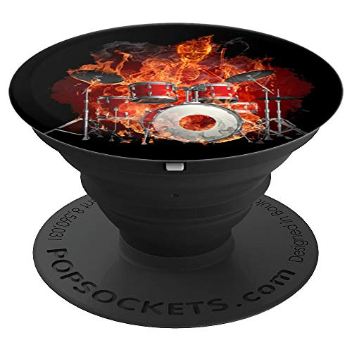 Smiling Flaming Skeleton on Drums - PopSockets Grip and Stand for Phones and Tablets (Flaming Drums)