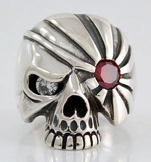 Men's Sterling Silver Diamond Garnet Skull Pirate Ring - DeluxeAdultCostumes.com